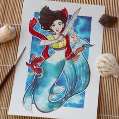 Sereia Mulan por Raquel Travé Illustration no Facebook.