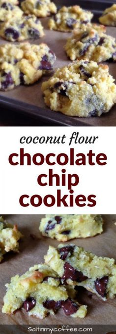Quaker® Chewy Chocolate Chip Granola Bars - Coconut Flour Chocolate Chip Cookies - Chocolate Chip - Ideas of Chocolate Chip - coconut flour chocolate chip cookies Keto Cookies, Coconut Flour Cookies, Coconut Chocolate Chip Cookies, No Flour Cookies, Keto Chocolate Chips, Coconut Flour Recipes Keto, Coconut Flour Brownies, Coconut Flour Baking, Desserts With Coconut Flour