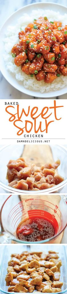 Baked Sweet and Sour Chicken - No need to order take-out anymore - this homemade version is so much healthier and a million times tastier! chinese food Baked Sweet and Sour Chicken Yummy Recipes, Asian Recipes, Cooking Recipes, Healthy Recipes, Recipies, Dishes Recipes, Healthy Meals, I Love Food, Good Food