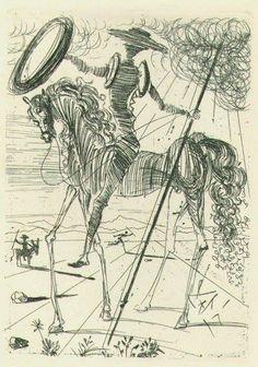 """Don Quixote,"" drawing by Salvador Dali. https://www.facebook.com/FulcrumPoetry/photos/a.10151650555884297.1073741825.19132964296/10153857676899297/?type=3"