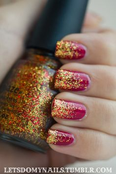 Pinned by www.SimpleNailArtTips.com SIMPLE - gold and red glitter over red manicure #nails