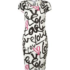 Moncochrome and Neon Pink Love Print Midi Dress ($9.02) ❤ liked on Polyvore featuring dresses, vestidos, short dresses, robes, mini dress, calf length dresses, pattern dress, white mini dress and white dress
