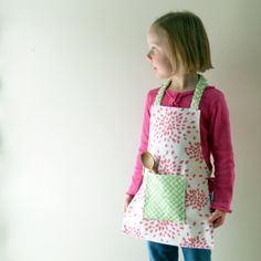 Girls Montessori Apron in Pink, White, and Lime Green by LilaKids, $32.00