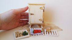 Dollhouse Miniature Fridge Vintage Ice box by MyCupTeaMiniatures