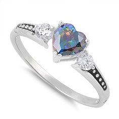 Sterling Silver Heart Rainbow Topaz CZ Ring