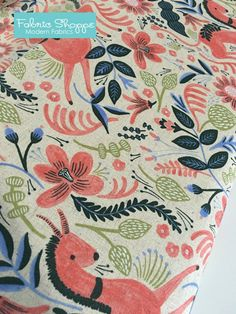 Rifle Paper Co Fabric, Canvas Linen fabric, Cotton and Steel fabric, Les Fleurs by Ana Bond, Home Decor, Folk Horse in Coral- Choose the cut