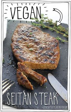 Vegan Seitan Steak Yes it s vegan Mouth-watering tender chewy juicy flavourful meat-like texture Amazing BBQ or pan fry then serve whole or slice and put on top of salad for a steak salad So delicious and satisfying Vegan Foods, Vegan Dishes, Vegan Vegetarian, Vegetarian Recipes, Healthy Recipes, Vegan Chicken Recipes, Vegan Fried Chicken, Vegan Meals, Grilled Vegan Recipes