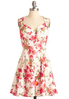 You Are Cherry Welcome Dress in Blossoms - Mid-length, Party, Casual, Vintage Inspired, Yellow, Green, Pink, Floral, Pleats, A-line, Tank top (2 thick straps), Multi, Spring, Fit & Flare #FlowerShop #ModCloth