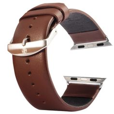 [$9.63] Kakapi Subtle Texture Brushed Buckle Genuine Leather Watchband with Connector for Apple Watch 42mm(Coffee)
