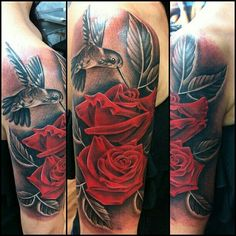 hummingbird tattoo with red roses - Google Search