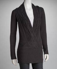 Take a look at this Charcoal Crossover Cardigan by Covetable Closet: Women's Apparel on #zulily today!