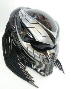 Custom Negro y Verde Depredador Casco de motocicleta real