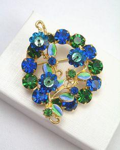 Blue Green Austria Rhinestone Brooch, Margarita Crystals, Enameled Leaves…