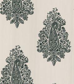 Mehndi White Paisley Wallpaper