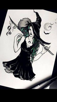Witching hour halloween occult witchy cats pumpkin gothic wicca samhain pagan fantasy dark got artprint - dibujos anime Dark Fantasy Art, Fantasy Kunst, Dark Art, Fantasy Witch, Anime Fantasy, Desenhos Halloween, Witch Drawing, Magic Drawing, Witch Tattoo