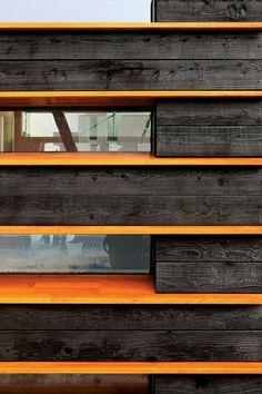 Modern log cabin wall