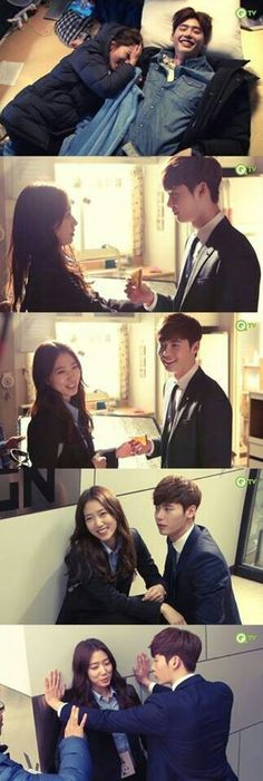 Korean drama Pinocchio. Lee Jong Suk and Park Shin Hye. Behind the scenes