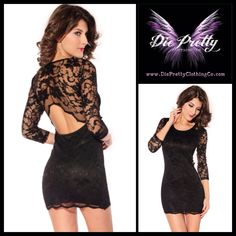 Hollow-Out Back Lace Dress in black  Item No : DP0828-2  Sales Price : $51.99  Size S/M only available.  Material : 100% Polyester  To purchase today, please email us & include the following:  1) Full name  2) Email address  3) Mailing address  4) Phone number  5) Item number(s) OR picture(s) AND size(s) of the item(s) you wish to order  6) Form of payment (etransfer or PayPal accepted. www.paypal.com)  Email to: dieprettyclothing@gmail.com  ~ Die Pretty Clothing Co…