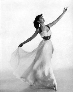 Brigitte Bardot (16) in chiffon evening gown by Pierre Balmain, photo by Georges Saad, 1950 b/w