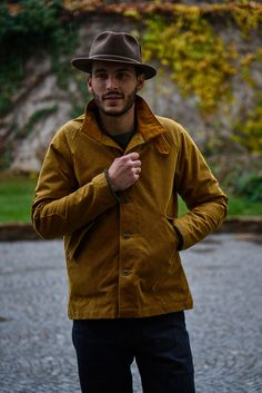 Fleurs de Bagne Le Falot Wax Jacket Gold Heavy Water, Wax Jackets, Waxed Canvas, Cold Day, Corduroy, My Style, Style Ideas, Flowers, Oilcloth