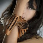 sculptural leather bracelet