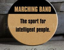 "MARCHING BAND The sport for intelligent people Tan- Football, Marching Band, Drums, Saxophone, Clarinet Quote - Magnet 1.5"" Pinback Button"