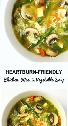 Heartburn-friendly Chicken, Rice, and Vegetable soup. This deliciously hearty soup is the perfect recipe to try if you are on a GERD or acid reflux diet. #heartburn #gerd #acidreflux #gerddiet #acidrefluxrecipes #gerdrecipes Veggie Soup, Vegetable Soup With Chicken, Chicken Rice, Ulcer Diet, Reflux Diet, Healthy Soup, Healthy Juice Recipes, Foods For Heartburn, Gerd Diet