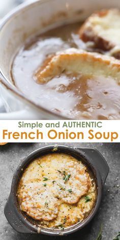 Making truly authentic French Onion Soup is easier than you'd think! This wonderful, simple and flavorful soup is the perfect warm dish for winter. # Food and Drink dinner videos French Onion Soup Onion Soup Recipes, Easy Soup Recipes, Casserole Recipes, Crockpot Recipes, Vegetarian Recipes, Dinner Recipes, Cooking Recipes, Healthy Recipes, Best Onion Soup Recipe
