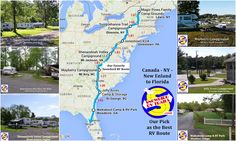 Best East Coast Snowbird RV Route South Northeast to Florida Rv Campgrounds, Shenandoah Valley, Quebec City, Rv Travel, West Virginia, Hampshire, Ohio, Vacation, Maps