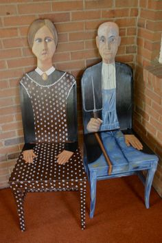 """""""American Gothic"""". This custom hand-painted chair is based upon Grant Wood's """"American Gothic."""" These chairs are painted with acrylic in blended blues, browns and tones of skin. The back of the chairs have painted in Wood's style.  They have three layers of polyurethane for protection so they are functional pieces of furniture. $895.00."""