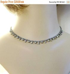 ❘❘❙❙❚❚ Spring Sale ❚❚❙❙❘❘     This is a dainty and feminine Clear Rhinestone Choker Necklace and Dangle Earrings Set #Vintage Bridal Wedding!   This necklace and earring set... #vintage #jewelry #fashion #ecochic #vogueteam