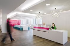 Reception / Breakout / Meeting / White / Pink / Reception Desk. CohnWolfe, London