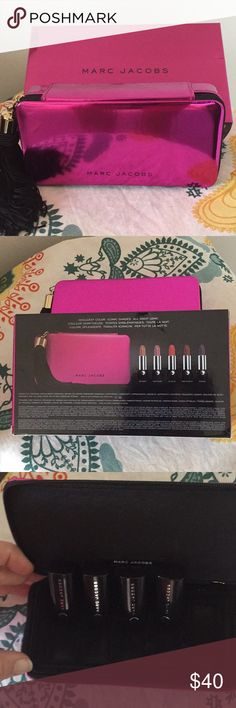 Marc Jacobs Collectable Case and Lipsticks This is a new set but 1 is not included Scandal is my favorite. The great part of this set is the case can be a makeup case or small clutch. Purchased from Sephora. I ship the same or next business day!! Makeup Lipstick