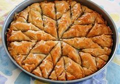 For the baklava: 1 lb. of chopped nuts (almonds, walnuts, or pistachios are best, or use a combination of them) 1 lb of phyllo dough 1 cup of butter, melted cup of sugar 1 teaspoon of ground cinnamon teaspoon Famous Desserts, Greek Desserts, Bulgarian Recipes, Turkish Recipes, Honey Recipes, Greek Recipes, Baklava Dessert, Pistachio Baklava, Turkish Baklava