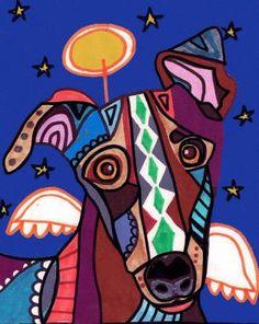 Greyhound Angel Art Dog Poster PRINT Painting by HeatherGallerArt, $24.00