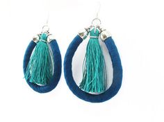 Tassel earrings, Statement earrings, Teal and emerald, Handmade tassels, Cotton fabric jewelry, Sterling silver, Fabric jewelry, Lightweight
