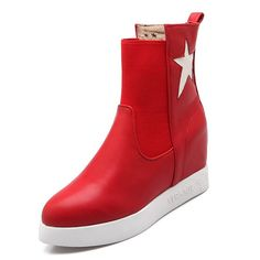 BalaMasa Womens Color Matching Thick Bottom Heel Elastic Band Imitated Leather Boots => Discover this special boots, click the image : Rain boots