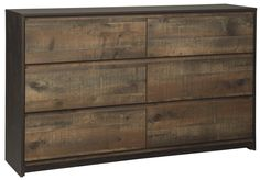 Less. Never more beautiful. Rich on the rustic character and decidedly simple on the details, this dresser maximizes the beauty of minimalism. Free of handles and featuring inset drawers, it does more with less for stunning results. Its richly rustic oak grain character is enhanced with a two-tone finish that gives the plank-style aesthetic a highly modern feel.