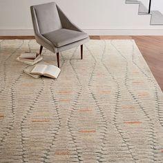 Staggered Diamond Wool Rug, Ivory, 8'x10'
