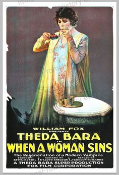 20x30 Poster Theda Bara When A Woman Sins 1918 #WWS