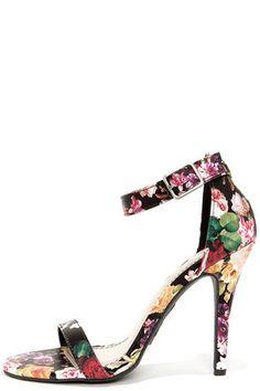 Anne Michelle Enzo 01Y Black Floral Print Single Strap Heels