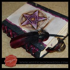 Book of Shadows:  Midnight Amethyst XL Book of Shadows with Earthy Wine Pentagram and Quill Pen. Refillable.