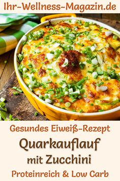Quark casserole with zucchini - protein-rich low-carb recipe - Healthy curd cas. - Quark casserole with zucchini – protein-rich low-carb recipe – Healthy curd casserole with zuc - Healthy Dinner Recipes, Low Carb Recipes, Diet Recipes, Breakfast Recipes, Casserole Recipes, Crockpot Recipes, Keto Snacks, The Best, Meal Planning