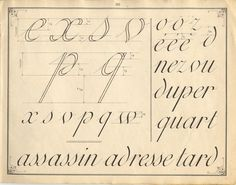 French instruction manual, 1900, page 35, Bastarda. Example and practice page.