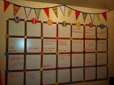 Don't love the idea of wasting a huge bulletin board for this calendar, but it does give me some inspiration to do something similar with something else.... !