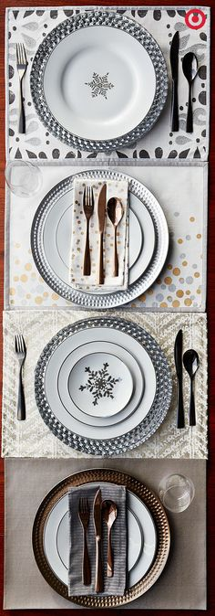 How's this for a formal yet festive holiday dinner party? The same placemats, dishes and flatware in silver, gold and white hues can be used to create different table looks throughout the season.