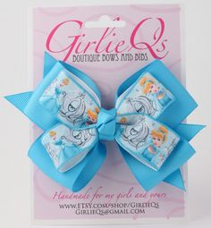 Disney Princess Cinderella Hair Bow Hair Clip 5 x 4 by GirlieQs, $6.00