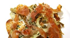 Monkfish With Prosciutto and Artichokes - going to try this with tilapia or mahi Baked Artichoke, Artichoke Hearts, Monkfish Recipes, Posh Nosh, Artichokes, Gluten Free Cooking, Dinner Dishes, Fish Dishes, Prosciutto