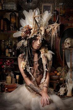 Antlered costume headdress, fun mix of victorian, native and mysticism.. wild-feminine