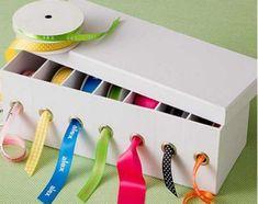 Shoeboxes as Ribbon Dispenser   Sewing Room Organization Hacks